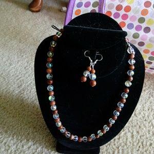 Jewelry - HP💝Sunstone & Crystal Necklace w/Earrings